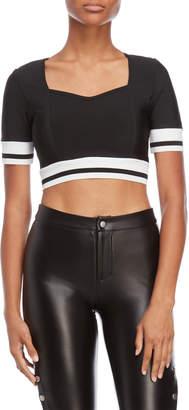 On Twelfth Contrast Cuff Bandage Crop Top