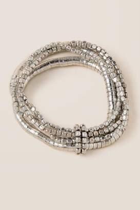francesca's Serina Beaded Bracelet Set in Silver - Silver