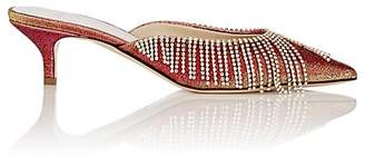 Area Women's Crystal-Fringed Lamé Mules