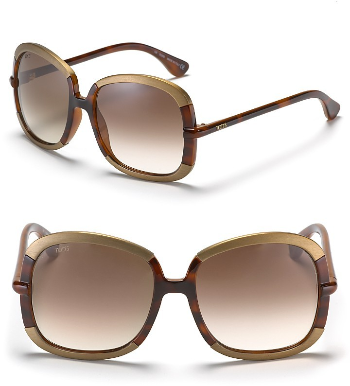 Tod's Square Sunglasses with Metal Overlay