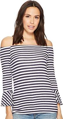 Three Dots Women's Nantucket Stripe Off Shoulder Mid Loose Shirt