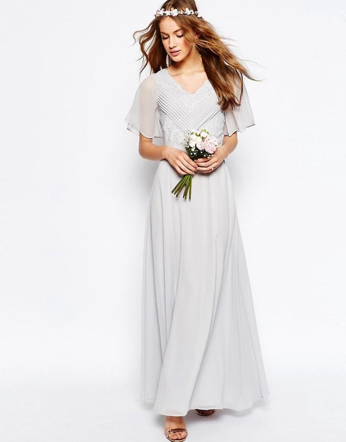 AsosASOS WEDDING Lace and Pleat Maxi Dress