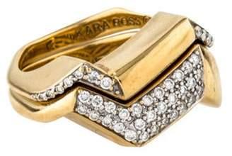 Kara Ross 18K Pavé Diamond Ring Set yellow 18K Pavé Diamond Ring Set