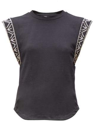 Isabel Marant Yelani Studded Sleeveless Cotton T Shirt - Womens - Black