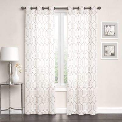 Newbury Embroidered Sheer 108-Inch Grommet Top Window Curtain Panel Pair in Ivory/Linen