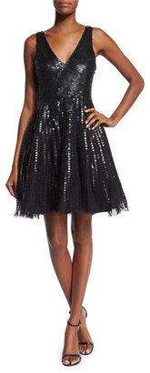 Parker Theater Sleeveless Sequined Fit & Flare Dress $395 thestylecure.com