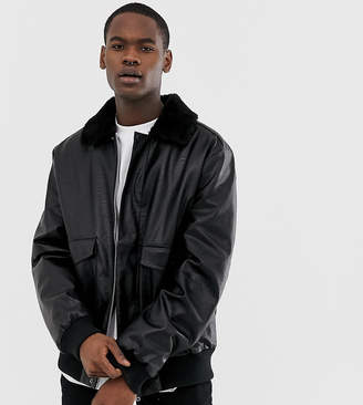 Collusion COLLUSION Tall faux leather bomber with fleece collar