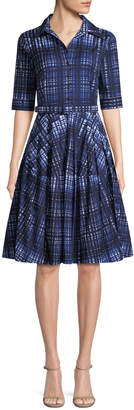 Samantha Sung Claire Plaid Half-Sleeve Shirtdress