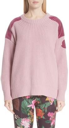 Moncler Genius by Velvet Trim Wool & Cashmere Sweater