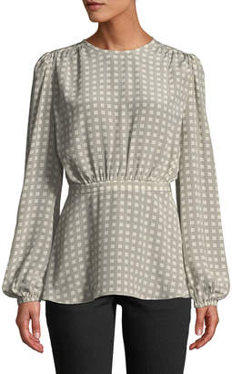 Co Long-Sleeve Cinch-Waist Square-Print Blouse