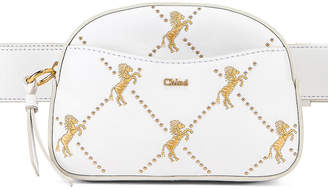Chloé Signature Embroidered Leather Belt Bag in Brilliant White | FWRD