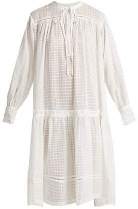 Lee Mathews - Laura Checked Cotton Muslin Dress - Womens - Ivory