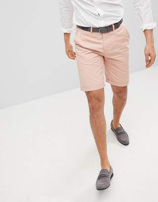 Solid Slim Fit Chino Short In Pink