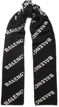 Balenciaga Intarsia-knit Scarf - Black