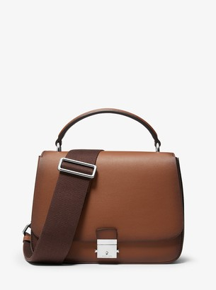 Michael Kors Mia Burnished Calf Leather Shoulder Satchel