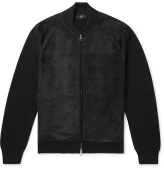 Dunhill Ribbed Merino Wool And Suede Bomber Jacket