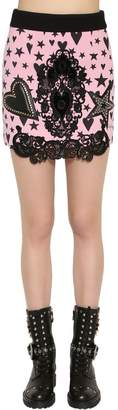 Fausto Puglisi Wool Crepe Mini Skirt W/ Lace & Leather