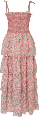 LoveShackFancy Caressa Tiered Floral-Print Maxi Dress