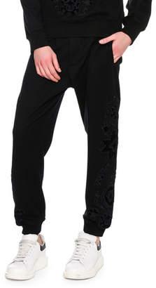 Alexander McQueen Flocked-Embellishment Sweatpants