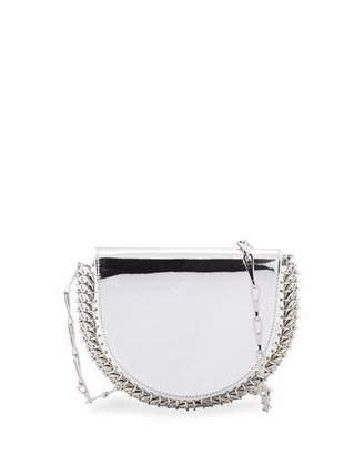 Paco Rabanne 1402 Metallic Half Moon Mini Chain Bag, Silver