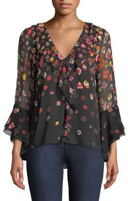 Elie Tahari Jillianna Pansy Floral-Print Silk Blouse