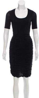 Burberry Ruched Short Sleeve Dress