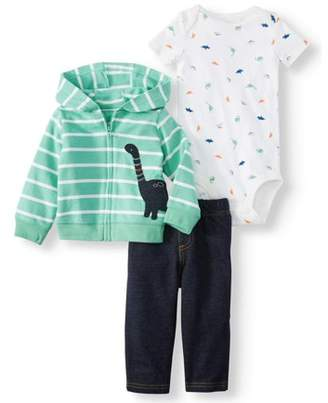 Carter's Child Of Mine By Child of Mine by Hooded Long Sleeve Cardigan, Short Sleeve Bodysuit, and Pants Outfit Set, 3pc set (Baby Boys)