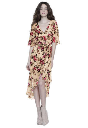 Alice + Olivia Clarine Ovrsized Sleeve Wrap Maxi Dress
