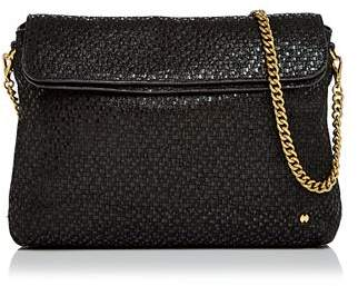 Halston Tina Double Flap Convertible Leather Clutch