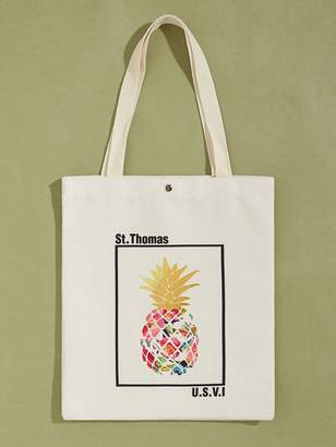 Shein Pineapple Graphic Canvas Book Bag