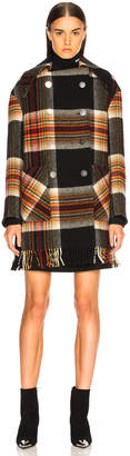 Calvin Klein Double Breasted Plaid Blanket Coat in Red, Yellow, Blue & Black | FWRD