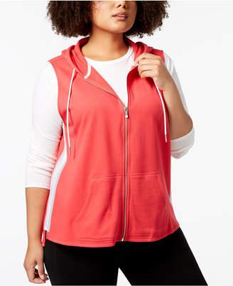 Calvin Klein Plus Size Sleeveless Zip Hoodie