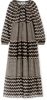Stella McCartney Drawstring Tunnels Printed Cotton And Silk-blend Maxi Dress - Black