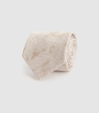 Reiss Donny - Tonal Paisley Silk Tie in Champagne
