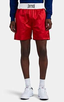 Just Don Men's Logo Satin Boxing Shorts - Red