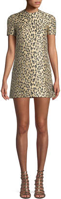 Valentino Jewel-Neck Short-Sleeve Metallic Leopard-Brocade A-Line Dress