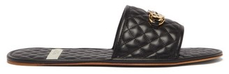 Gucci Gg Plaque Quilted Leather Slippers - Mens - Black