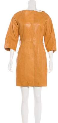 Kaufman Franco KAUFMANFRANCO Leather Knee-Length Coat