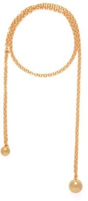 Bottega Veneta Ball 18 Karat Gold Plated Long Necklace - Womens - Gold