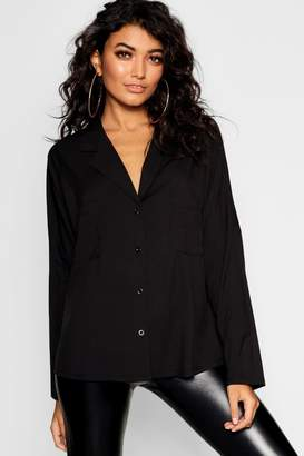 boohoo Long Sleeve Revere Collar Shirt