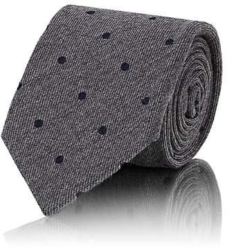 Cifonelli Men's Polka Dot Wool-Silk Faille Necktie