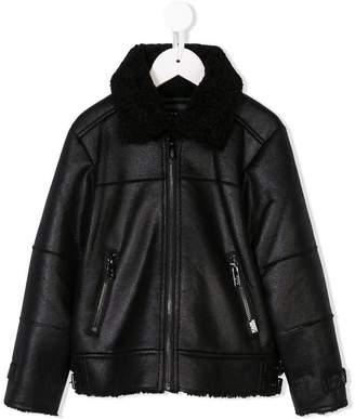 Karl Lagerfeld faux fur biker jacket