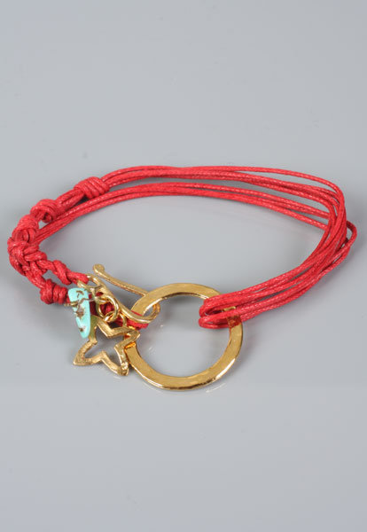 Wrap Around Charm Bracelets in Gold/Turquoise