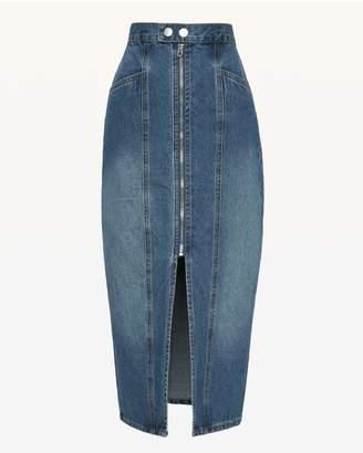 Juicy Couture JXJC Denim Zip Front Midi Skirt