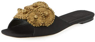 Sanayi313 Flat Grosgrain Slide Sandal with Floral Embroidery