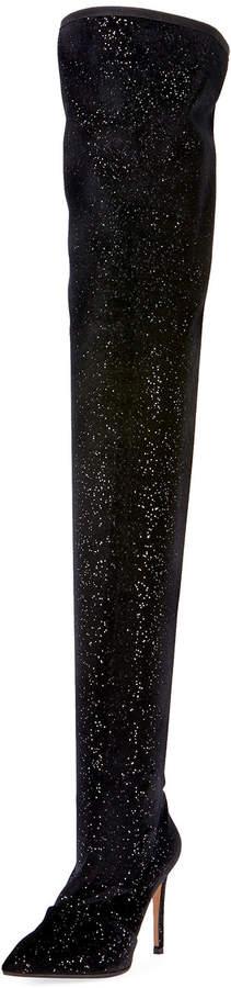Balmain Amazone Glitter Over-The-Knee Boot