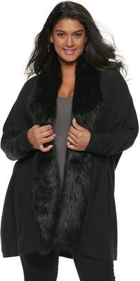 JLO by Jennifer Lopez Plus Size Faux-Fur Trim Dolman Cardigan