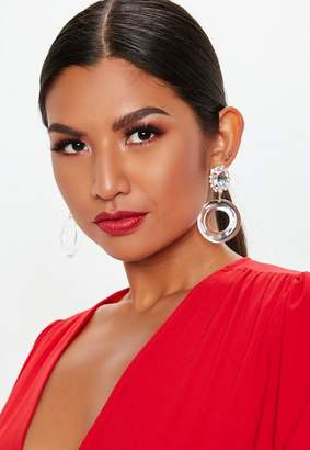 Missguided Clear Dropped Diamante Earrings