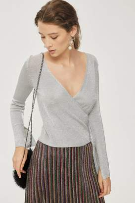 Topshop Metal Yarn Wrap Knitted Top