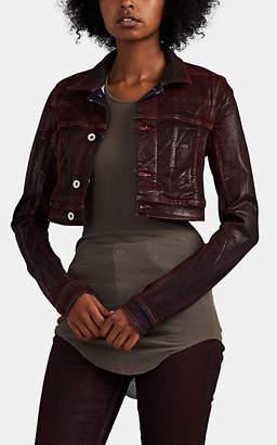 Rick Owens Women's Little Joe Waxed Denim Crop Jacket - Dark Red